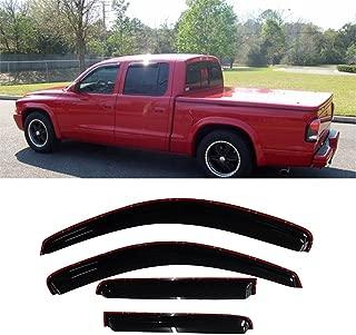 Black Friday MGPRO 4pcs In-Channel Reinforced Acrylic Sun Rain Guard Vent Shade Window Visors For 00-04 Dodge Dakota Quad Cab