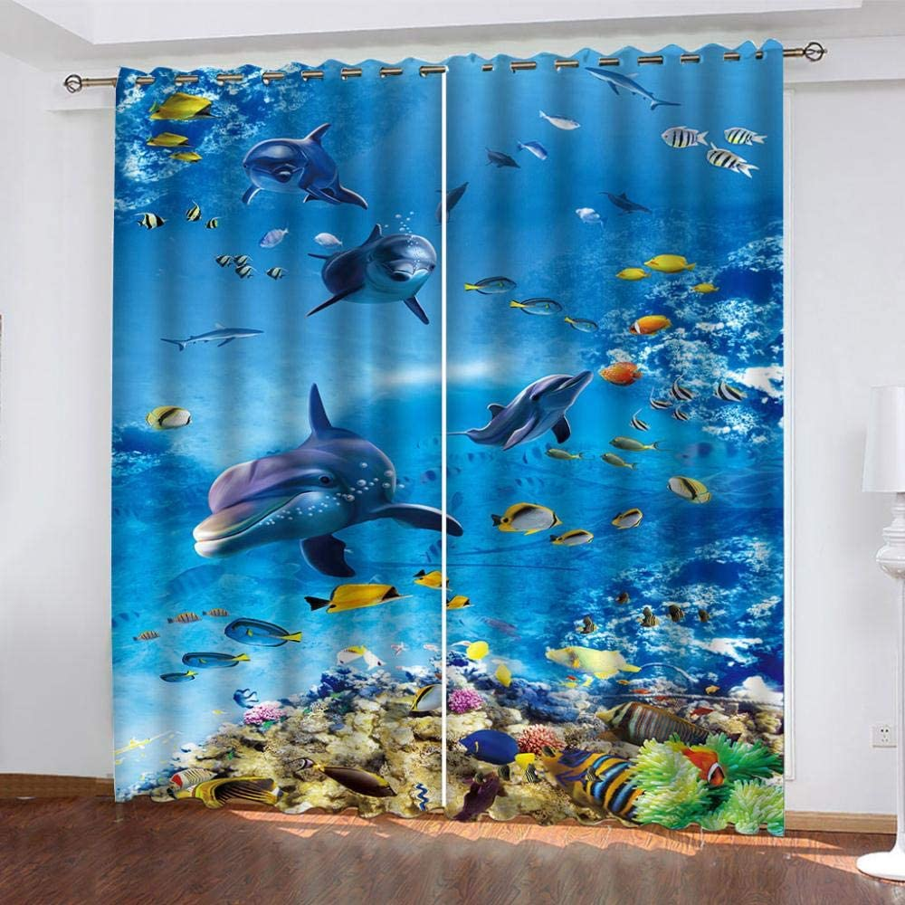 IZYLWZ Blackout Curtains for Bedroom Th Whale Super Special SALE held Grommet Blue Ocean Cheap mail order shopping
