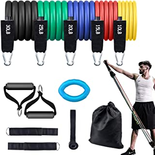 Haogeilioo Resistance Bands Set, 5 Stackable Exercise Bands with Non-Slip Handles, Ankle Straps, Door Anchor, Hand Grip Ex...