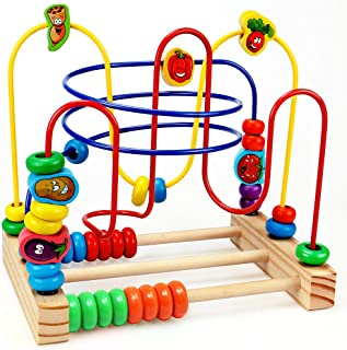 Wooden Beads Maze Game Educational Toys for Toddler Baby Roller Coaster Around Circle Bead Early Development Toys with Mini Abacus