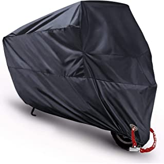 Scooter Covers Moped Cover Waterproof Motorcycle Prevent Rain Sun UV Dustproof for Any Season and Weather with Lock Holes Rust Resistance and Buckle - Black - M 78