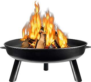 HENGMEI 80cm Feuerschale Feuerstelle Feuerkorb Fire Pit Metallschale mit 3 Beinen für Garten, Gemütliche Feuer 80cm