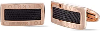 Charriol Celtic Stainless Steel, Rose Gold and Black Rhodium Plated Cable Rectangle Cufflinks