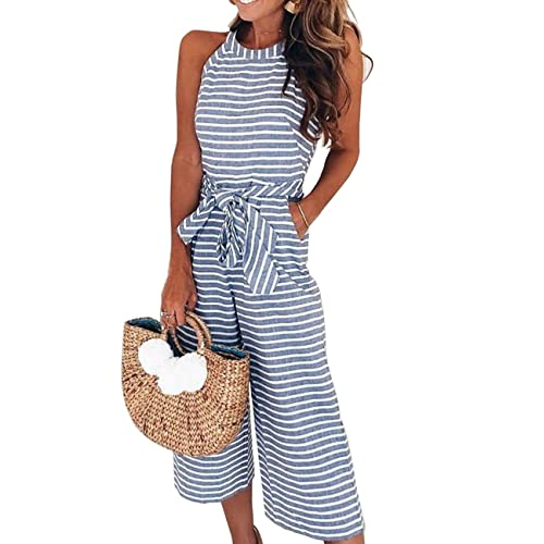 d65909f622c Mioloe Women Stripe High Waist Wide Leg Pants Jumpsuits Rompers Club  Evening Party Playsuit