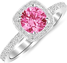 1 Carat 14K White Gold Classic Halo Style Cushion Shape Diamond Engagement Ring with a 0.75 Carat Natural Pink Sapphire Center (Heirloom Quality)