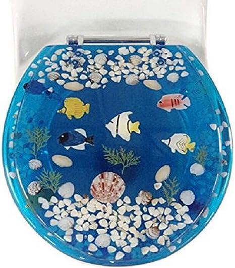 Amazon Com Daniel S Bath Beyond Polyresin Round Fish Toilet Seat 17 Blue Home Kitchen