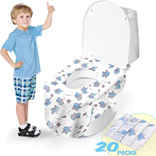 Toilet Seat Covers, Disposable Extra Large Full Cover Potty Seat Covers for Kids Potty Training with 20 Pack Individually Wrapped Portable Toilet Seat Cover for Travel, Adults, Home use