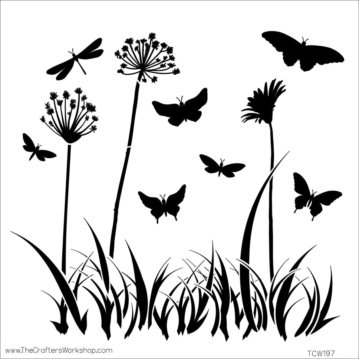 CRAFTERS WORKSHOP 474730 Template, 12 by 12-Inch, Butterfly Meadow