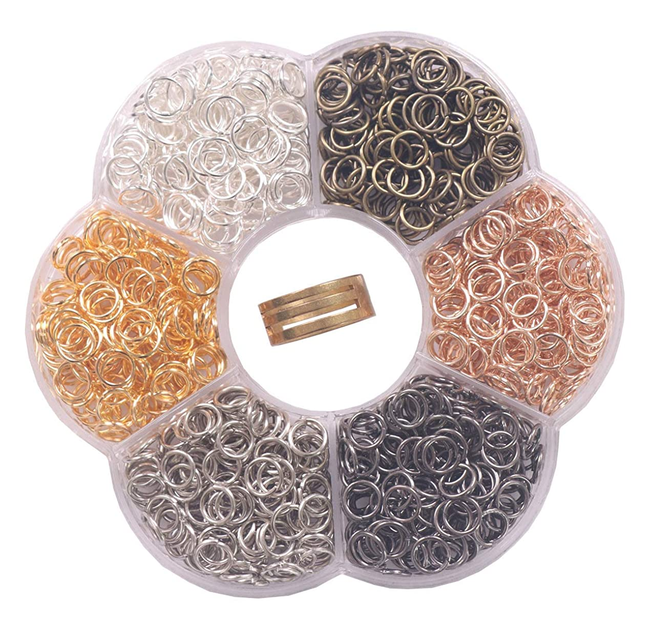 YAKA1800Pcs 6mm1Box 6 Colors Open Jump Ring,Ring Jewelry Keychain for Jewelry Making Accessories,1Pcc Jump Ring Open/Close Tool and 1Pcs Clear Box (0.23