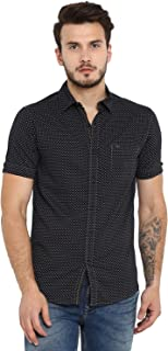Mufti Men's Printed Slim Fit Casual Shirt (MFS-9763-H-01_Black_5XL)