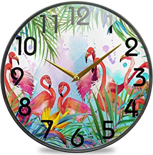 Naanle Tropical Exotic Leaves Flamingo Round Wall Clock, 9.5 Inch Silent Battery Operated Quartz Analog Quiet Desk Clock f...
