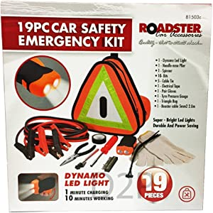 19PC CAR SAFETY EMERGENCY KIT BREAKDOWN EURO VEHICLE CARAVAN TRIANGLE LED LIGHT