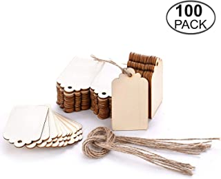 ArtMuseKitsMikash TMO Wood Tags Unfinished Wood Craft Supplies DIY Woodcrafts Blank Wooden Gift Tags Natural Hanging Wood Pieces for Wine,Decor,Wedding(100 Pcs)