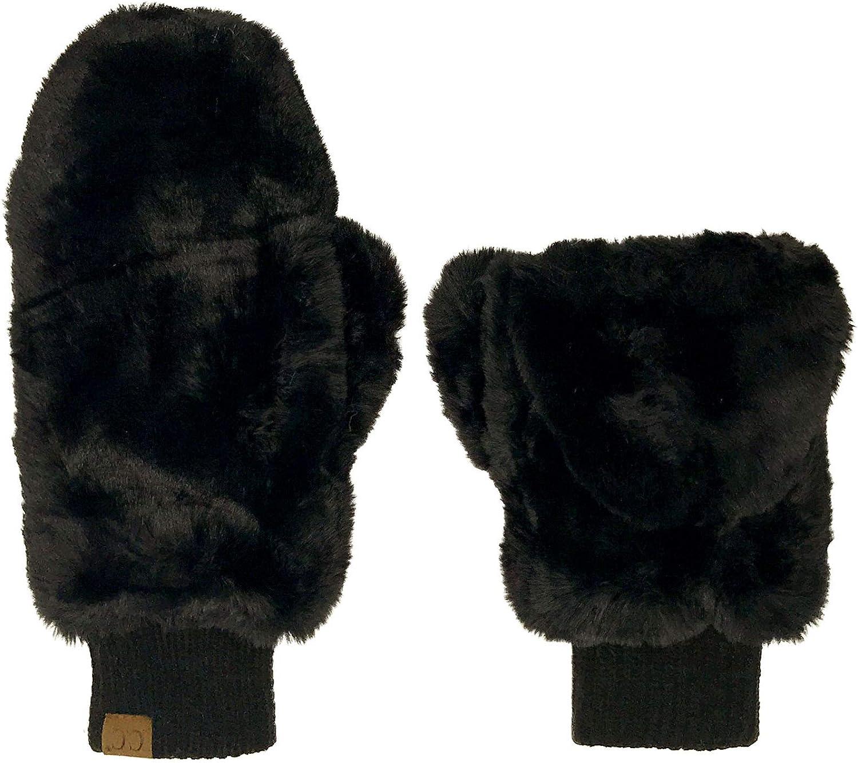 CC Soft Faux Fur Fuzzy Lined Flip Up Down Top Fingerless Mitten Gloves