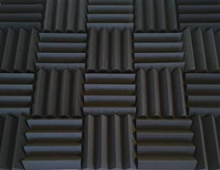 Soundproofing Acoustic Studio Foam - Bass Absorbing Wedge Style Panels 2 Pack 12in x 12in x 3 Inch Thick Tiles (Charcoal)