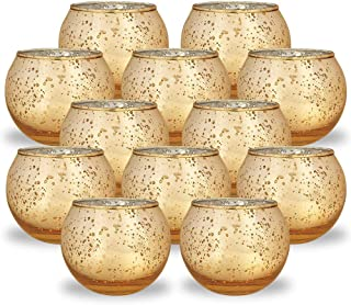 Best Just Artifacts Round Mercury Glass Votive Candle Holders 2-Inch Speckled Gold (Set of 12) - Mercury Glass Votive Candle Holders for Weddings and Home Décor Review