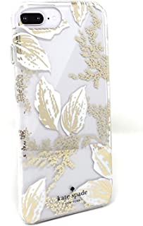 Kate Spade New York Birchway Floral Print Hardshell Case for iPhone 8 Plus/iPhone 7 Plus/iPhone 6 Plus, Gold/White/Clear