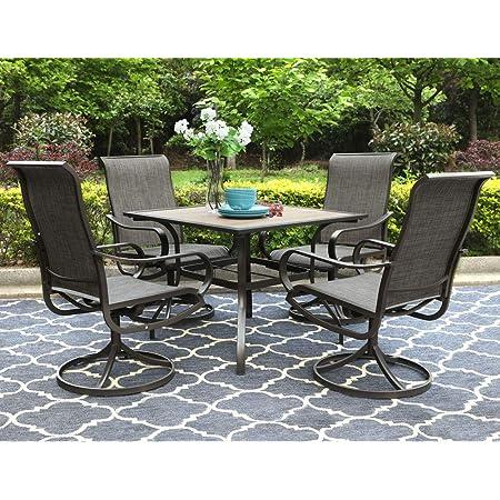 Amazon Com Barton 5 Piece Outdoor Dining Set Square Patio 1 Table Mesh Dining 4 Chairs Yard Patio Furniture Garden Uv Resistant Garden Outdoor