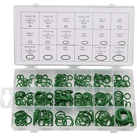 FEIPARTS 225PCS O-Ring Kit Green Metric O-Ring Seals Assortment Air Conditioner Seal Set O Ring Rubber Seals Tool Kit 18 Sizes Assortment Kit