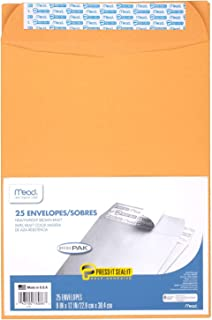 "Mead Envelopes, Press-It Seal-It, 9"" x 12"", Self Adhesive, Office Pack, Brown Kraft, 25-Pack (76086)"