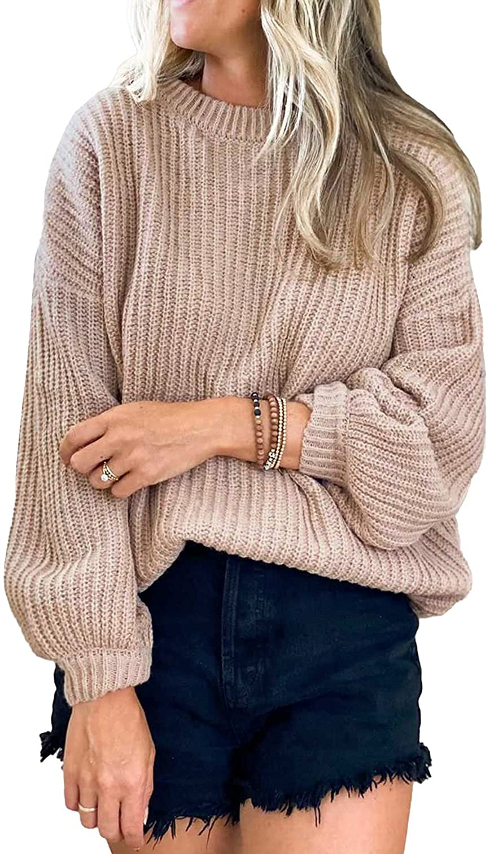 PRETTYGARDEN Women's Crew Neck Loose Drop Shoulder Lantern Sleeve Casual Solid Color Knit Pullover Sweater