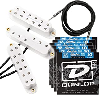 Seymour Duncan Everything Axe JB Jr Duckbucker Little 59 White Pickup Set w/ 6 Sets of Strings and Cable