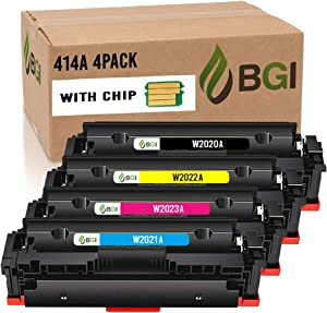 BGI Remanufactured Toner Cartridge for HP 414A W2020A (Includes CHIP) Color Laserjet Pro MFP M479fdw M479fdn M454dw M454dn 414A | W2020A W2021A W2022A W2023A | BCMY 4-Pack| Made in USA