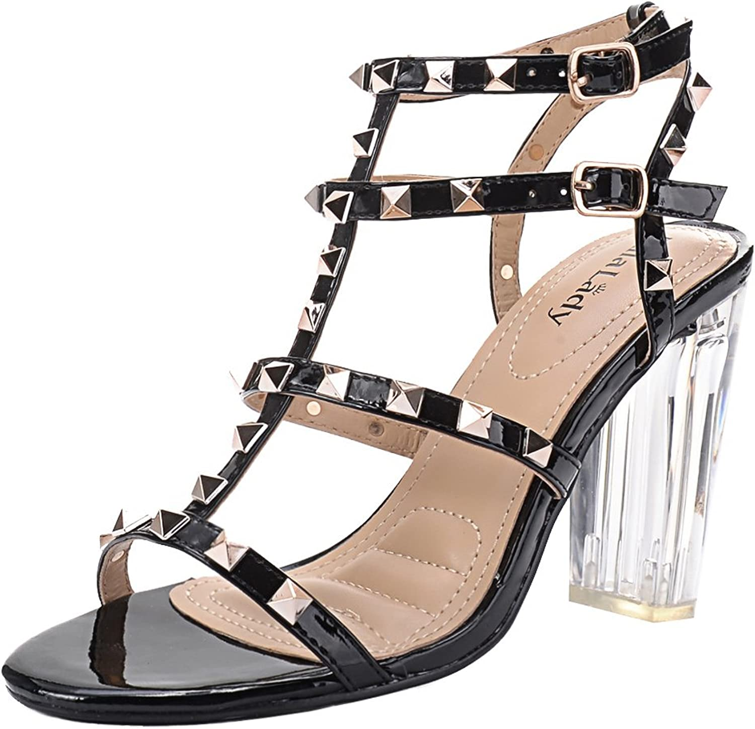 Mila Lady  Erin 08  Women's Studded with Lucite Clear Block Chunky Heel Sandals, Black 7