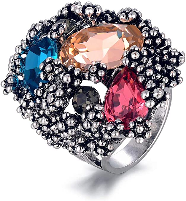 Shefashion Women's Oxidized Silver Crystal Cocktail Rings Vintage Custome Jewelry Size 9