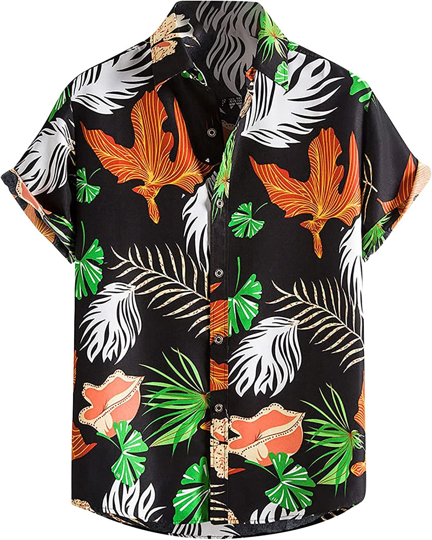 Hawaiian Button-Down Shirt for Men Summer Slee Short Regular Long Beach Mall Fit Max 62% OFF