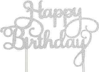 PuTwo Tortendeko, Happy Birthday Tortendeko, Tortendeko Geburtstag, Kuchendeko Geburtstag, Kuchen Deko, Cake Topper Happy Birthday, Cake Topper für Geburtstagsdeko Frauen und Mädchen Silber