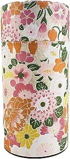 Ryu Mei Hyakka Japanese Tea Canister | Imported Japanese Tea Storage Tin | 202H03 | Pink Orange Yellow White Flower