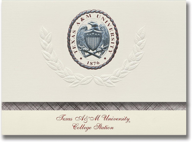 Signature Ankündigungen Texas A & M University – College Station Graduation Ankündigungen, platin Stil, Elite Pack 20 mit Texas A & m-college Station silber rot Crest Folie B0793J1GDL  | Elegant