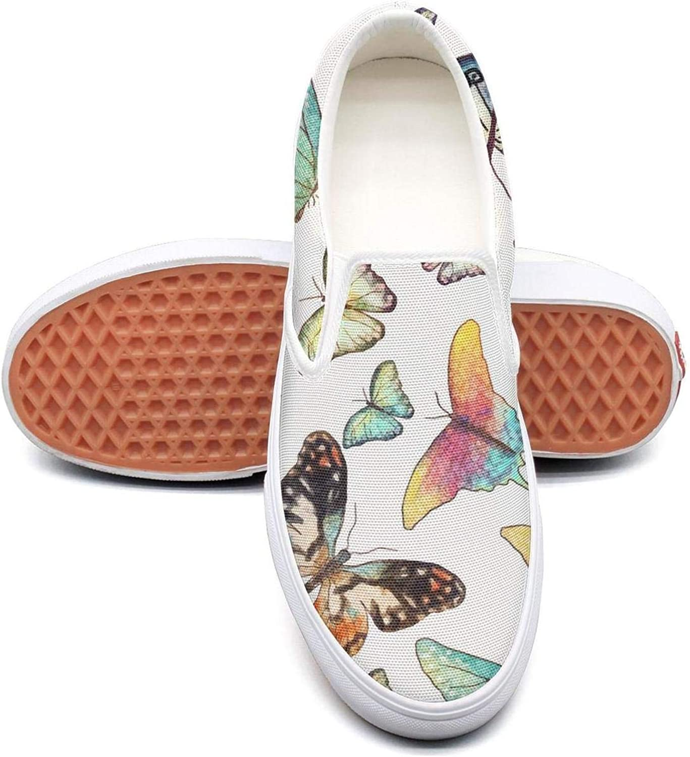 Refyds-es Watercolor Butterflies Womens Fashion Slip on Low Top Lightweight Canvas Athletic Sneakers
