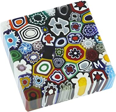 GlassOfVenice Murano Glas Millefiori Square Paperweight - Medium