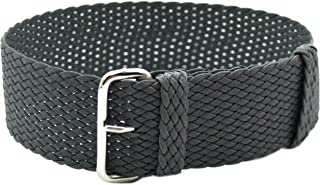 HNS 20mm Dark Grey Perlon Tropic Braided Woven Watch Strap with Silver Buckle