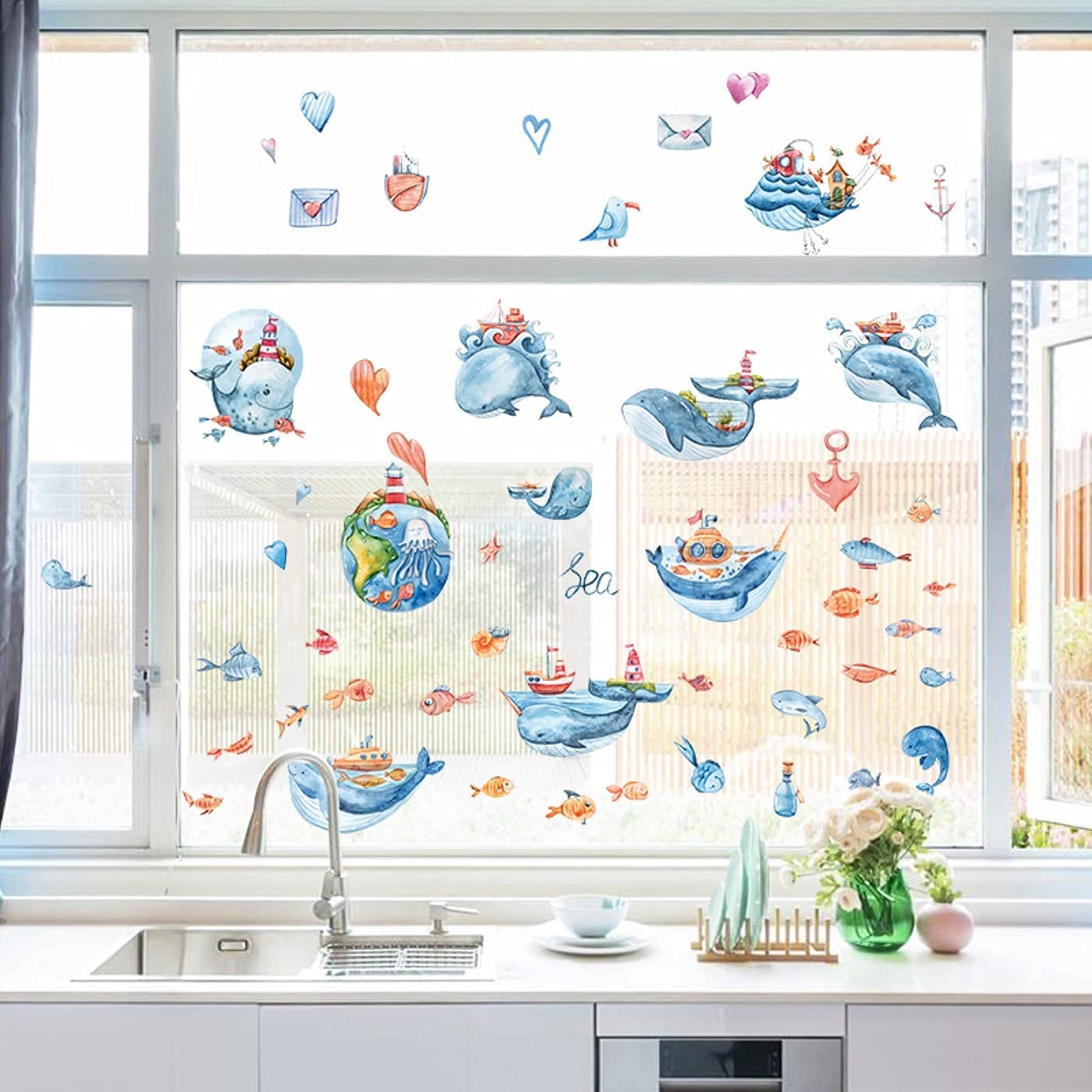 9 Online limited product Sheets Summer Ocean Whale Window Stickers Clings for Win Ranking TOP4 Glass