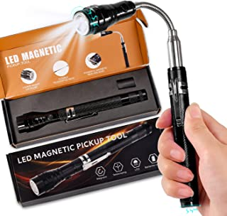 Gifts for Dad&Men Fathers Day-Magnetic Pickup Tool with LED, Telescoping Magnet Flashlight Pickup Stick Cool Gadget,Birthd...