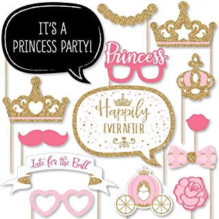 Big Dot of Happiness Little Princess Crown - Pink and Gold Princess Baby Shower or Birthday Party Photo Booth Props Kit - 20 Count