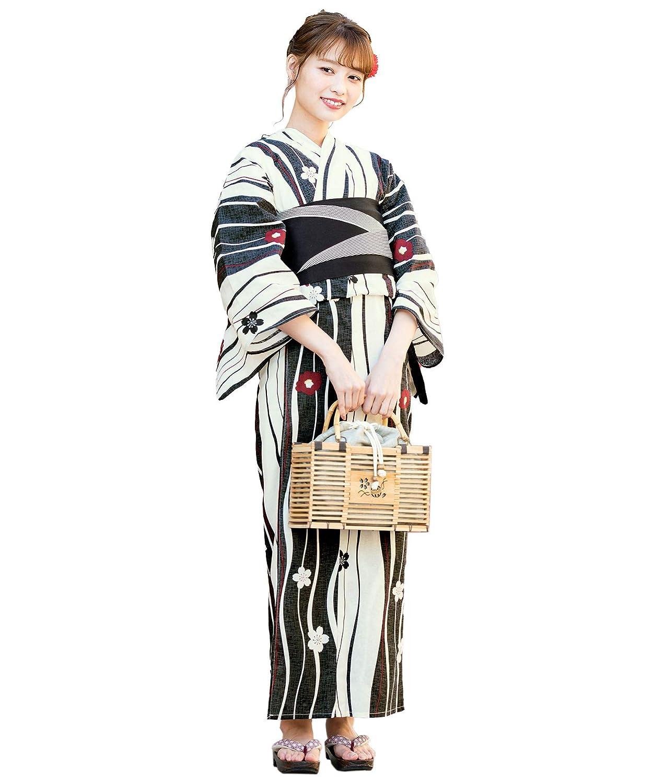 (ソウビエン)レディース浴衣セット 黒系 ブラック クリーム よろけ縞 椿 ツバキ 小花 綿 女性 花火大会
