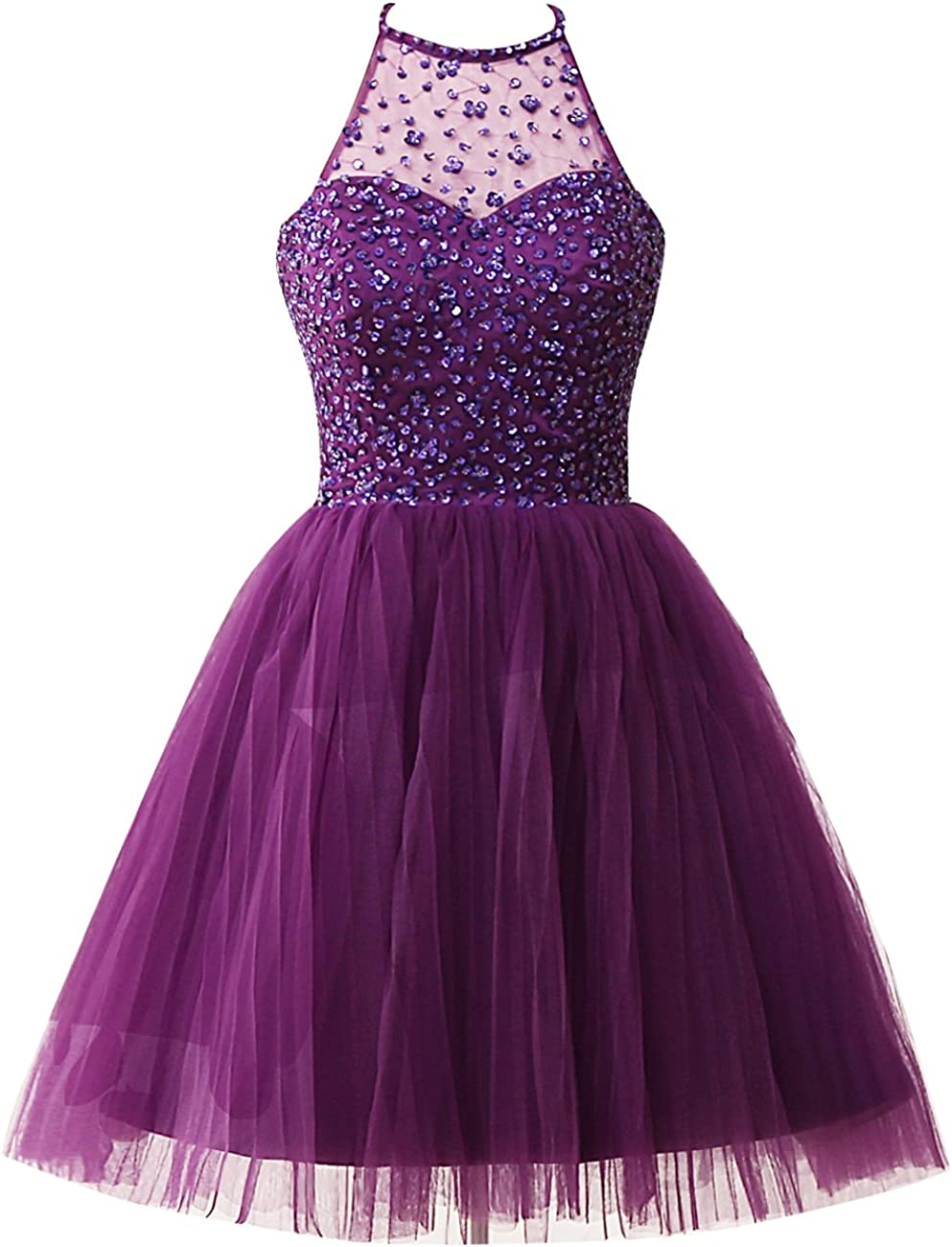 Homecoming Dress Short Cocktail Party Dresses Halter Prom Dress Beading Tulle Homecoming Dresses