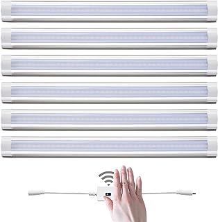 Lampaous - Juego de 6 lámparas led empotrables para armario, luz blanca cálida, luz blanca fría