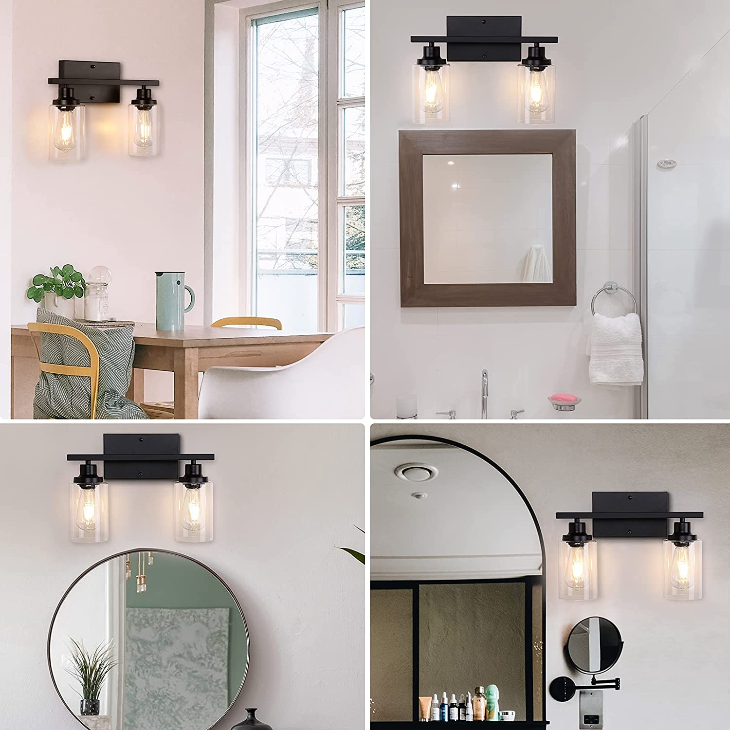 Buy Miduxiy Black Bathroom Vanity Lights 2 Light Matte Black Bathroom Lighting Fixtures Over Mirror Industrial Vintage Wall Sconce Wall Lamp With Thickened Glass Shade For Bedroom Powder Room Hallway Online In Germany