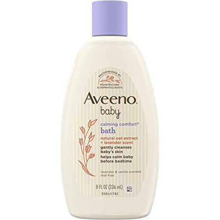Aveeno Baby Calming Comfort Bath & Wash with Relaxing Lavender & Vanilla Scents & Natural Oat Extract, Hypoallergenic & Tear-Free Formula, Paraben-, Phthalate- & Soap-Free, 8 fl. oz