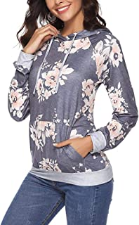 Womens Casual Hoodies Long Sleeve Drawstring Sweatshirt Pullover Top with Pocket