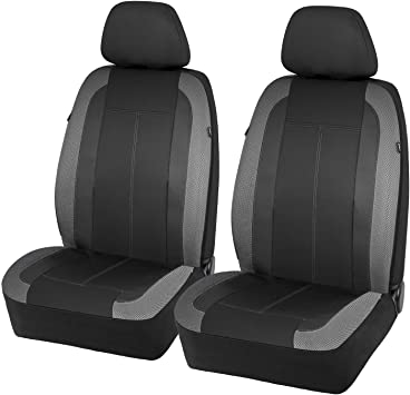 PIC AUTO Low Back Car Seat Covers - Sports Carbon Fiber Mesh Design, Universal Fit, Airbag Compatible (Gray): image