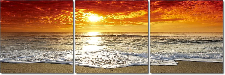 Haus und Deko Wandbild 3er 3er 3er Set Sonnenuntergang Meer Romantik Wolken Himmel Strand Natur Fotodruck 3 Bilder auf Holzfaserplatte je 40x40 cm einfache Montage B07L4SXZC7 d539e0