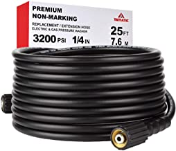 "YAMATIC Kink Free 3200 PSI 25 FT Pressure Washer Hose 1/4"" M22-14mm Brass Thread Replacement For Most Brand Pressure Washers"