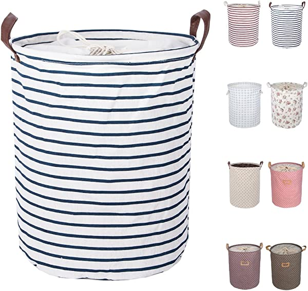 DOKEHOM 17 7 Inches Large Laundry Basket 9 Colors Drawstring Waterproof Round Cotton Linen Collapsible Storage Basket Blue Strips M