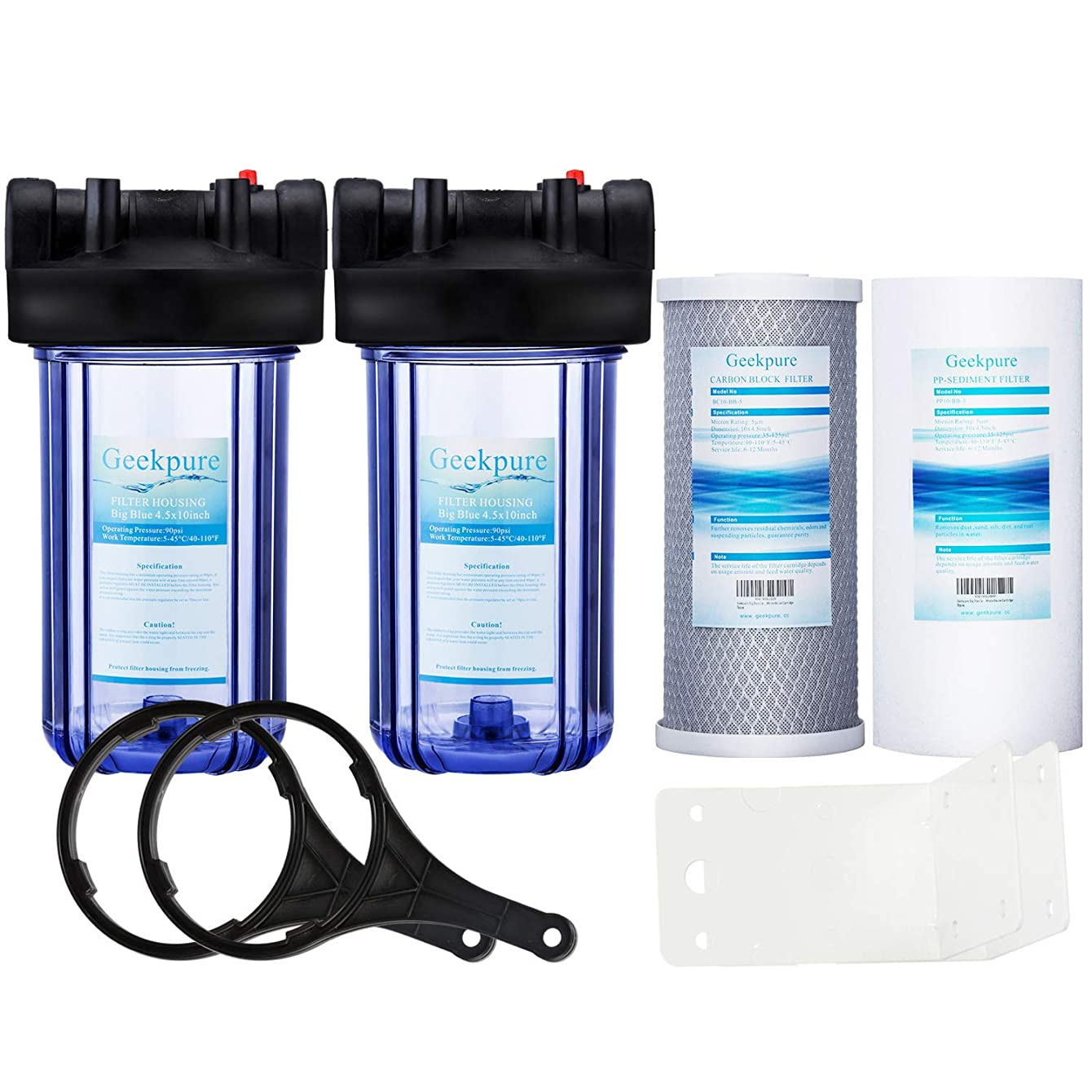 Geekpure Whole House Water Filter System 2 Stage w/ 10-Inch Big Clear Housing -with 4.5